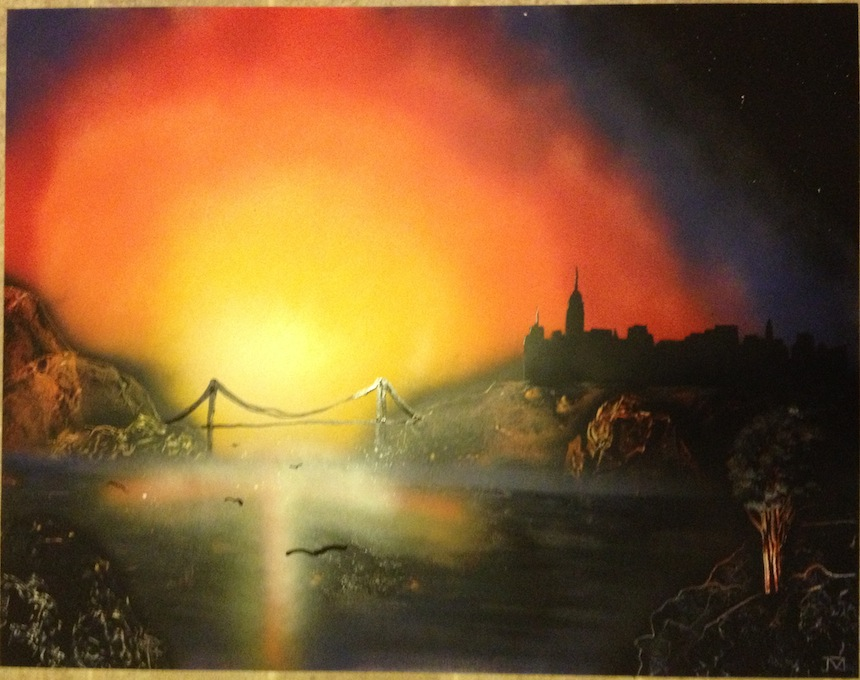 New Spray Paint Art Sunset City Spray Paint Art
